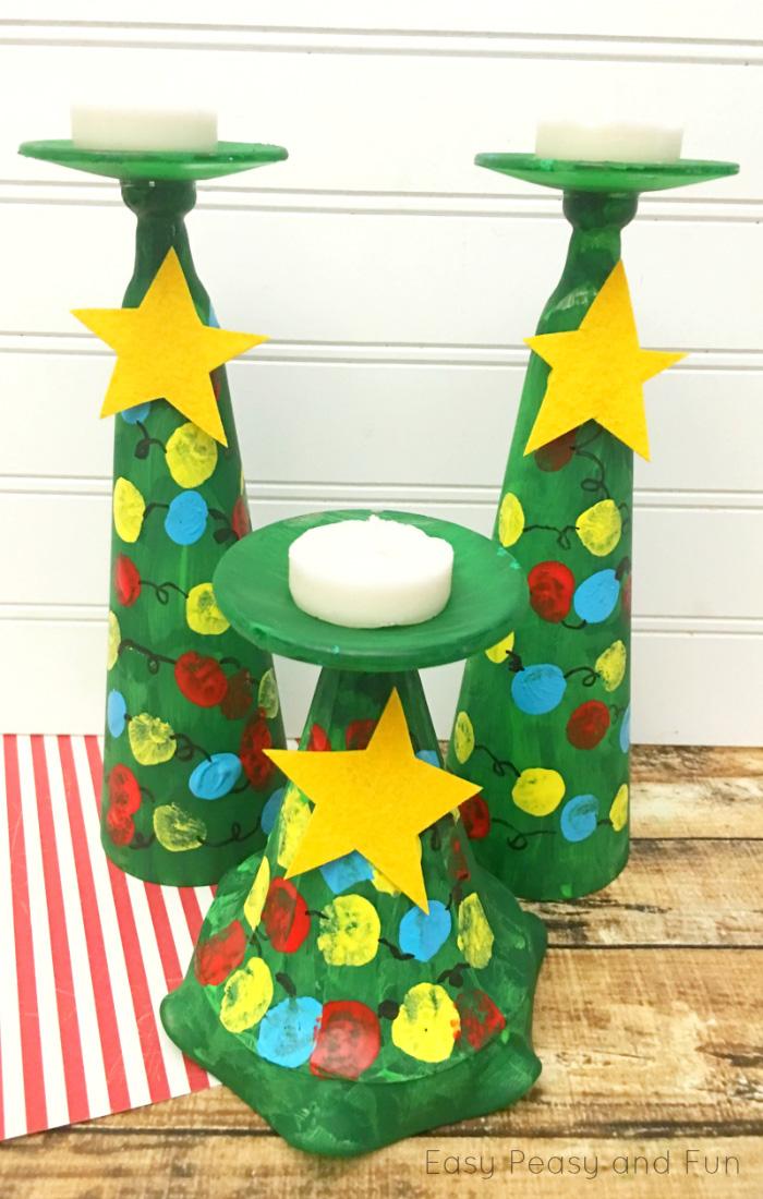 Φτιάξτε με τα παιδιά σας, κηροπήγια χριστουγεννιάτικα δέντρα!