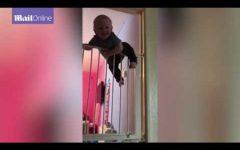 Θα ξετρελαθείτε: «Σούπερ-μωρό» σκαρφαλώνει διπλή πόρτα ασφαλείας! (vid)