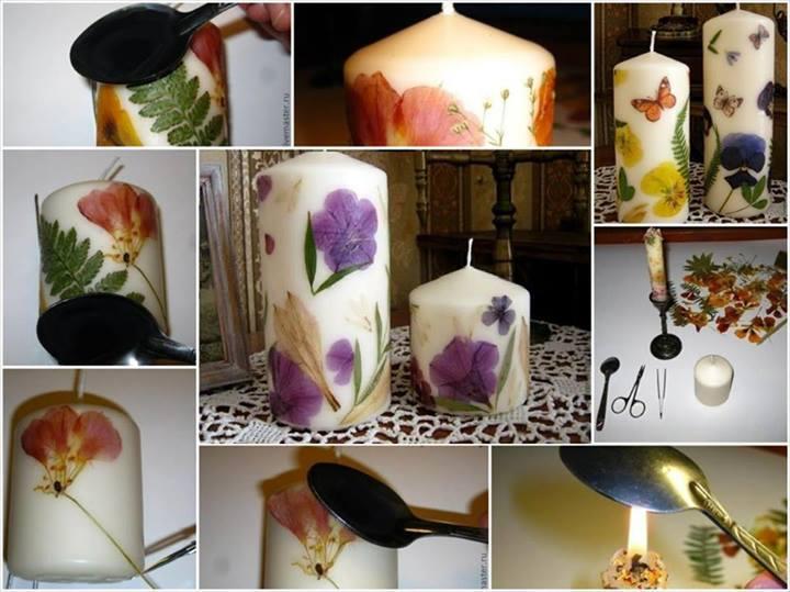 Παίρνει λευκά κεριά και βάζει πάνω αποξηραμένα λουλούδια.. Το αποτέλεσμα θα σας εκπλήξει!