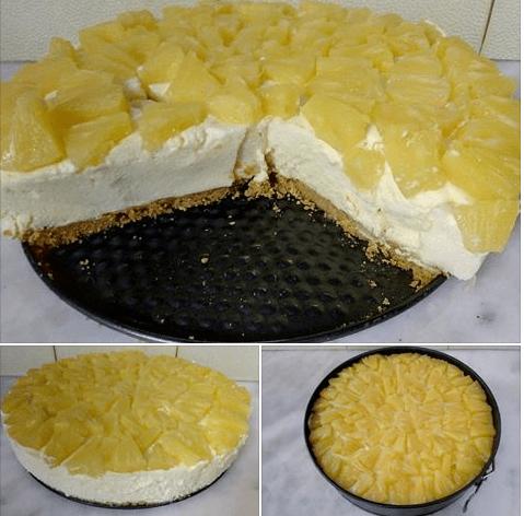 Τσιζ κέικ Ανανά !Εύκολο, δροσερό, με αέρινη κρέμα και τραγανό μπισκότο!
