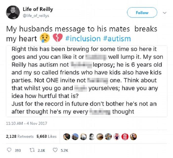 Το οργισμένο μήνυμα αυτού του μπαμπά στους ''φίλους'' του όταν έμαθε οτι κανείς τους δεν κάλεσε τον αυτιστικό γιο του σε κανένα από τα πάρτυ γενεθλίων