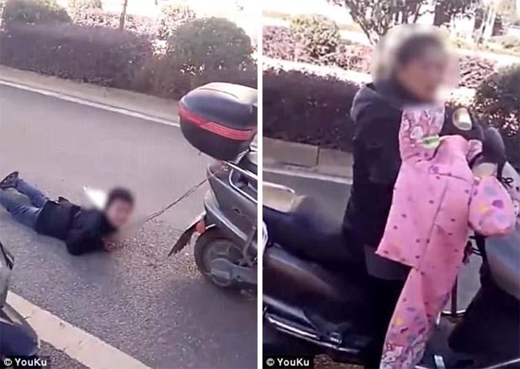 Μητέρα τραβάει με σκοινί τον γιο της από μηχανάκι γιατί «ήταν κακό παιδί»