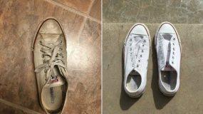 Μια Φοιτήτρια Καθάρισε τα Παπούτσια της με ένα απίστευτο κόλπο που έχει Τρελάνει το Διαδίκτυο.