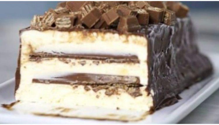 Γλυκό σκέτη «κόλαση»: Κορμός παγωτό με Kit Kat!
