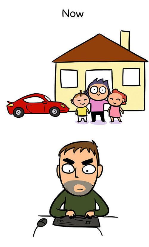 Εκπληκτικά σκίτσα απεικονίζουν τη ζωή ενός άντρα πριν και αφού γίνει μπαμπάς