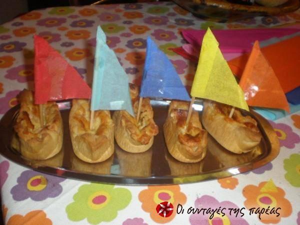 Ταρτάκια-βαρκούλες αλμυρά. Ιδανικά για το παιδικό πάρτι!