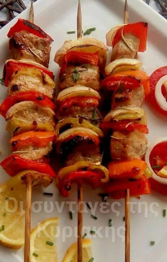 Λαχταριστά σουβλάκια χοιρινά με πιπεριές!