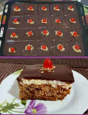 Λαχταριστή Καρυδόπιτα με κρέμα και γλάσο σοκολάτας για κέρασμα !!!
