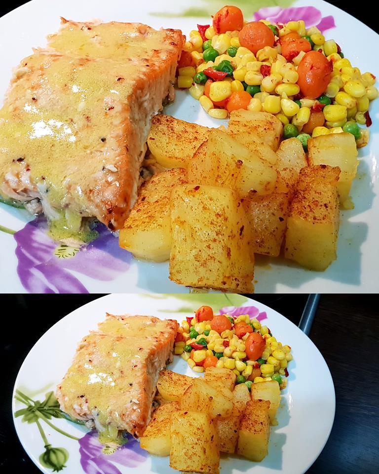 Σολωμός με μουστάρδα και λαχανικά...❣❣❣