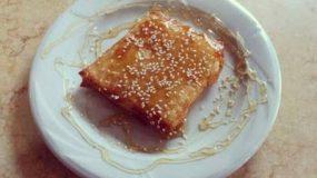 Σαγανάκι φέτα σε φύλλο κρούστας με μέλι !!!