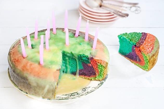 Τούρτα κέικ ουράνιο τόξο για το παρτυ του παιδιου σας!!!!
