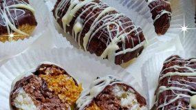 εύκολα τρίχρωμα σοκολατάκια με ινδοκάρυδο!!