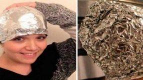 Έβαλε αλουμινόχαρτο μετά το λούσιμο στο κεφάλι της - Το αποτέλεσμα θα το ζηλέψετε!