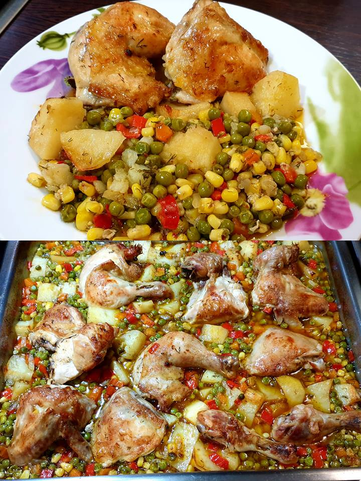 Κοτόπουλο στον φούρνο με αρακά και άλλα λαχανικά...❣❣❣