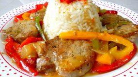 Ψαρονέφρι με χρωματιστές πιπεριές και ρυζάκι κίτρινο..??
