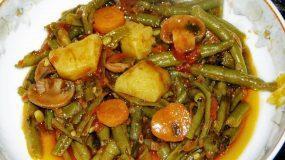 Φασολάκια φρέσκα με μανιτάρια