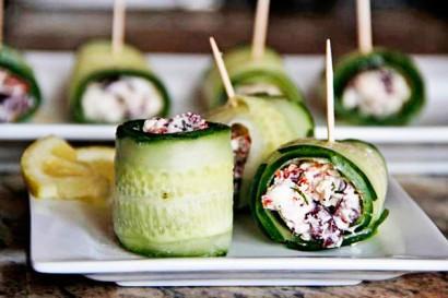 Υπέροχες ιδέες για μπουφέ με ρολάκια από αγγούρι φέτα και γιαούρτι!