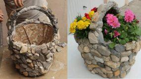 Φτιάξτε υπέροχα πέτρινα παρτέρια από ψάθινα καλάθια εύκολα και τελείως ανέξοδα για τον πιο όμορφο κήπο!