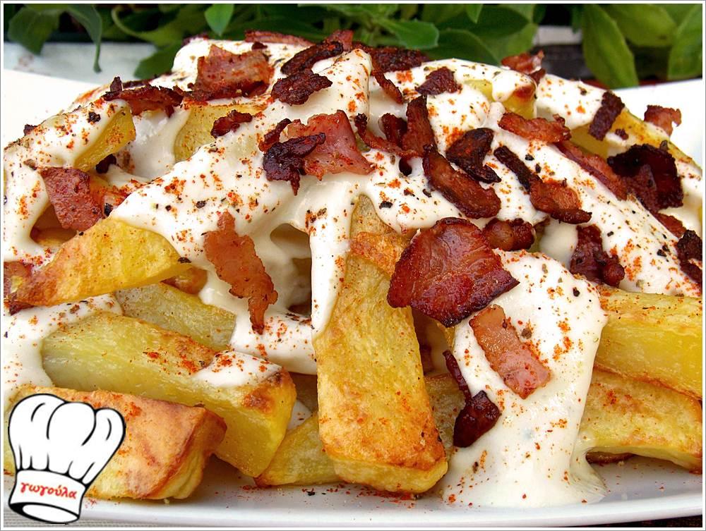 Πατατοκόλαση! Πατάτες σαν τηγανιτές με τυριά και μπέικον