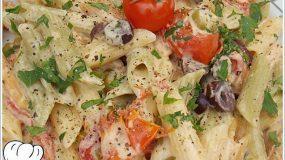 Φανταστικές χωριάτικες πένες με  ντοματινια ελιές και τυρί κρεμά