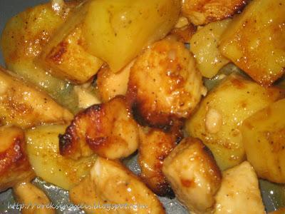 Λεμονομουσταρδομελωμένες μπουκίτσες κοτόπουλου με πατάτες!