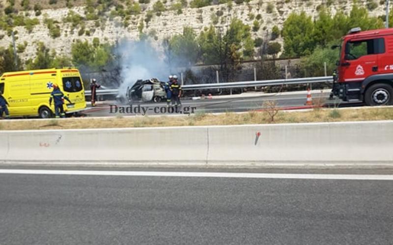 Ουρά χιλιομέτρων από Φλεγόμενο αυτοκίνητο στην εθνική οδο Αθηνών-Κορίνθου φωτογραφία