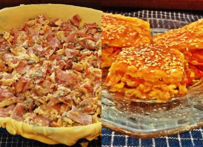 Φανταστική  Πίτα με πιπεριές Φλώρινης, μανιτάρια και μπέικον
