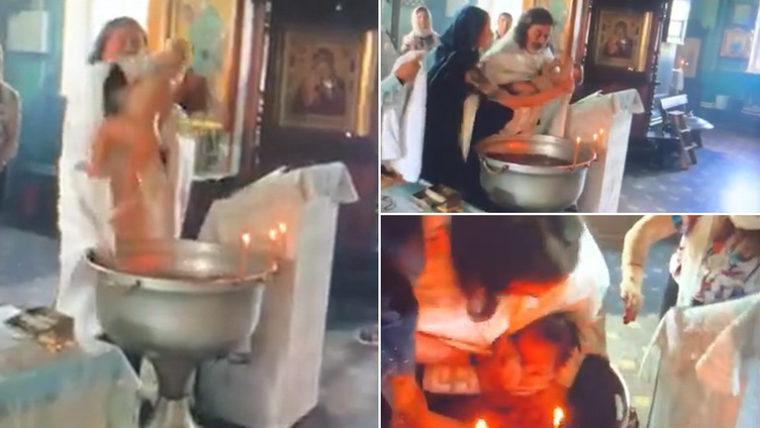 Ανατριχιαστικό βίντεο βάφτισης όπου παππάς παραλίγο να πνίξει το παιδί! Η μητέρα πάλευε να το πάρει πίσω στην αγκαλιά της