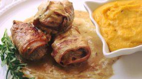 Ψαρονέφρι με μπέικον, σάλτσα μουστάρδας και πουρέ καρότου