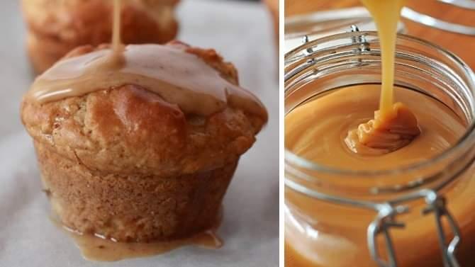 Muffins με γεύση μήλου και σιρόπι καραμέλας!