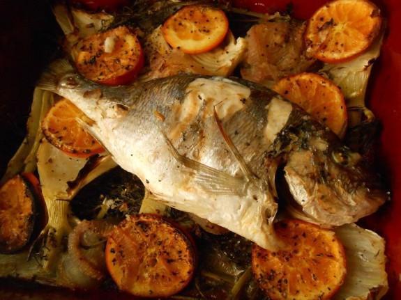 Ψητές τσιπούρες με άρωμα πορτοκαλιού-Sea bream with fennel and orange