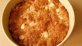 Χαλβαδόπιτα ένα υγιεινό γλυκό με βρώμη και καραμελωμένα μήλα-Nougat with oats and Caramelized Apples