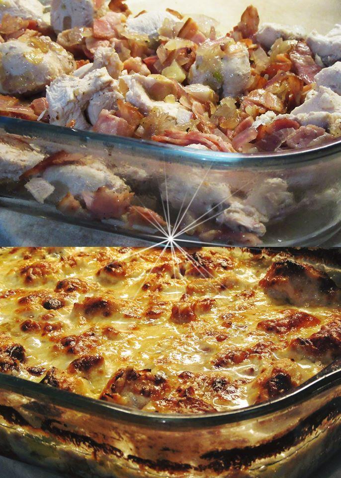 Φιλέτο κοτόπουλο στον φούρνο με μπέικον κρεμμύδι και κρεμά γάλακτος