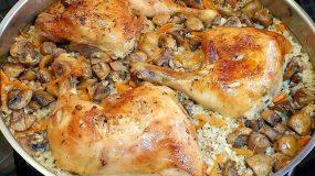 Μπούτι κοτόπουλο στο φούρνο με ρύζι και μανιτάρια