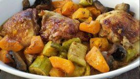 Κοτόπουλο λεμονάτο στο φούρνο με λαχανικά