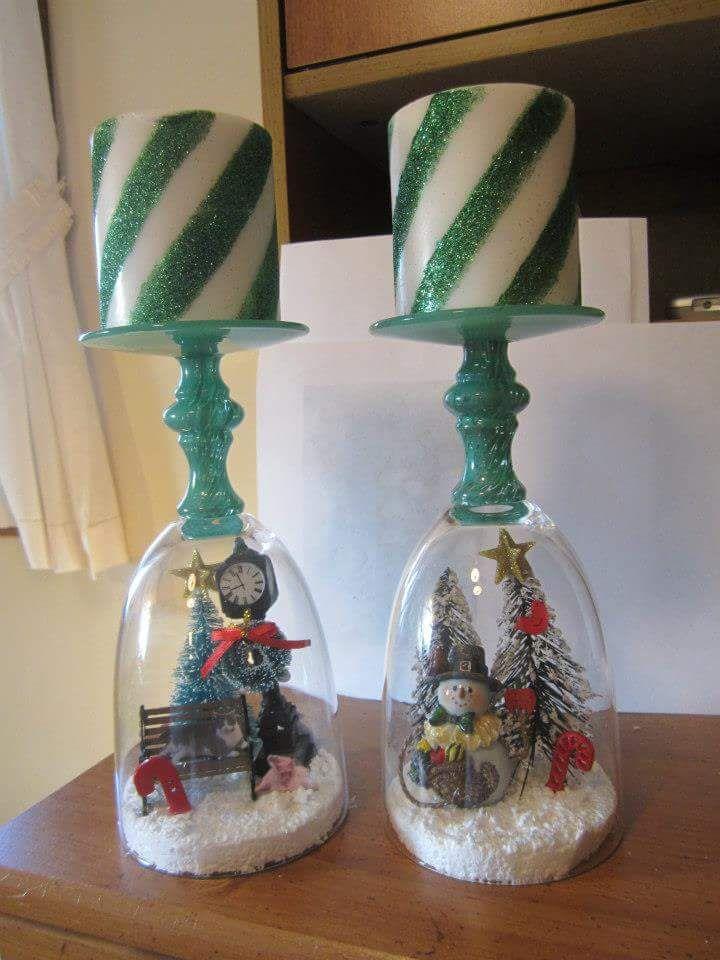 Χριστουγεννιάτικα κηροπήγια με κολονάτα ποτήρια 1