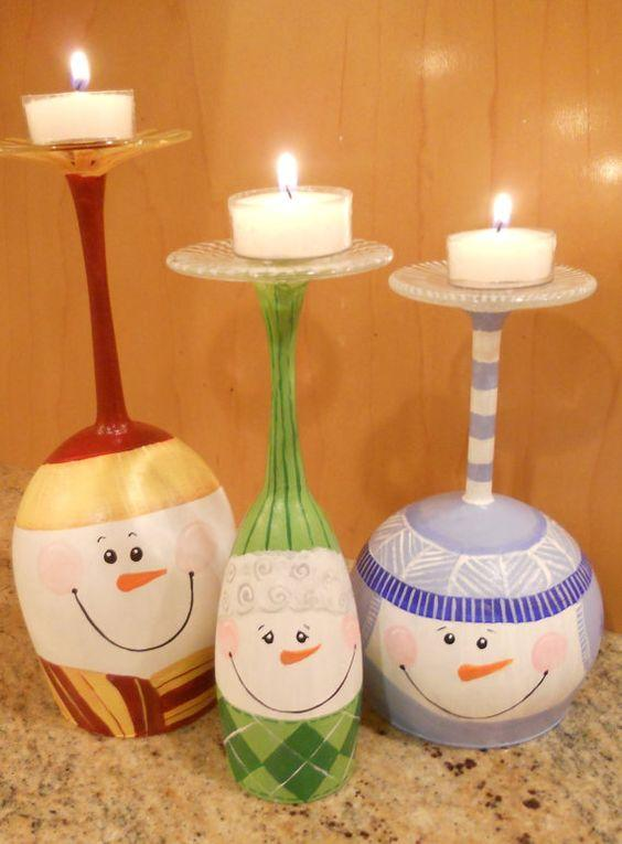 DIY Χριστουγεννιάτικα κηροπήγια με κολονάτα ποτήρια.