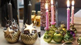 Ιδέες για χειροποίητα κηροπήγια από χριστουγεννιάτικες μπάλες!