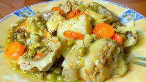 Αρακάς με αγκινάρες, διάφορα λαχανικά και κουρκουμά