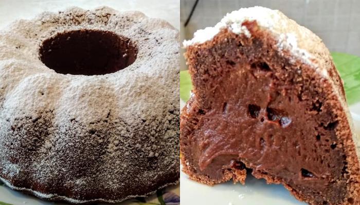Υγρό κέικ γεμιστό με σοκολάτα και άχνη ζάχαρη!