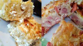 Λαχταριστή πίτα με φύλλο κρούστας μισή τυρί-μισή ζαμπόν κασέρι για όλα τα γούστα!