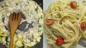 Ταλιατέλες με σάλτσα φέτας, σκόρδο & ντοματίνια