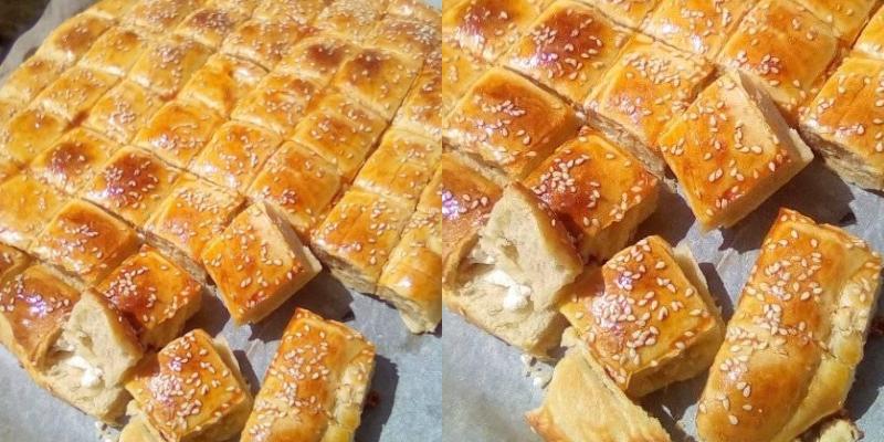 Τυρόπιτα ταψιού με αφράτη ζύμη γιαουρτιού, φέτα και σουσάμι