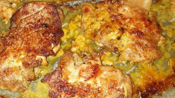 Φιλέτο κοτόπουλο στη λαδόκολλα με πιπεριές και μουστάρδα