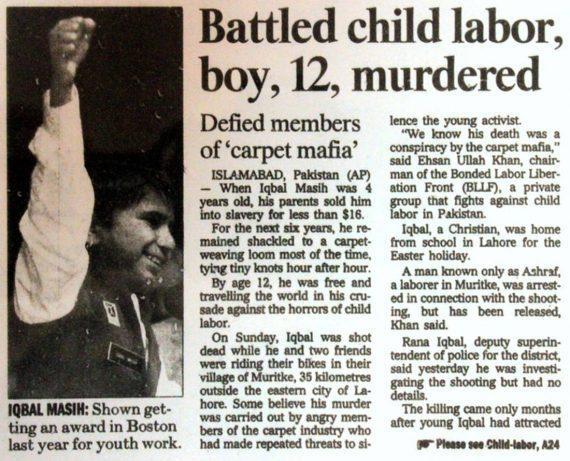 0 10χρονος που πωλήθηκε σαν σκλάβος και αγωνίστηκε ενάντια στην παιδική εργασία - Το τραγικo τέλος