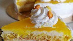 Λαχταριστή τούρτα λεμονιού, με κρέμα και γλάσο από λεμόνι