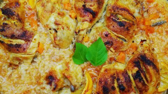 Λεμονάτο κοτόπουλο με ρύζι στον φούρνο