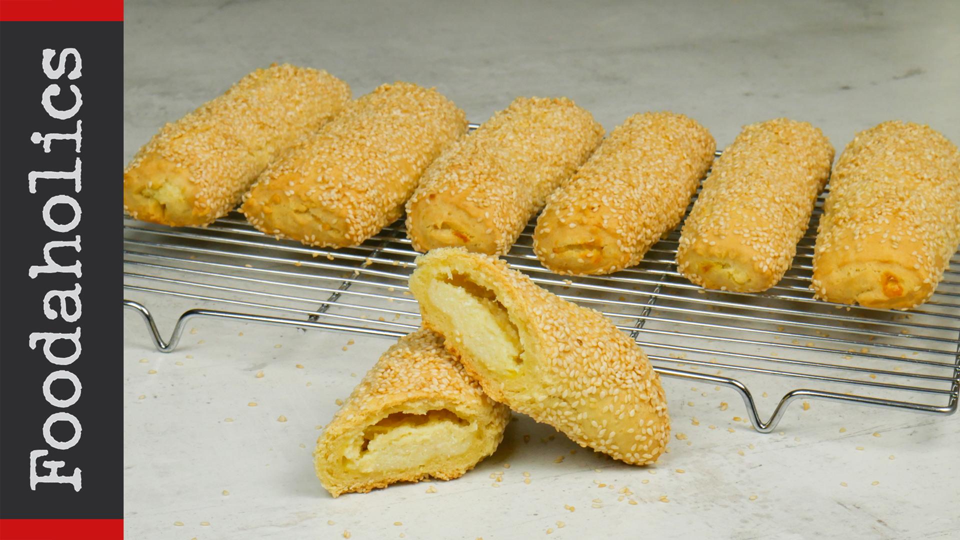 Φλογέρες με κρέμα από διάφορα τυριά & σουσάμι ιδανικά για κολατσιό