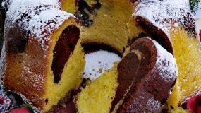 Συνταγή για κλασικό μαμαδίστικο δίχρωμο κέικ