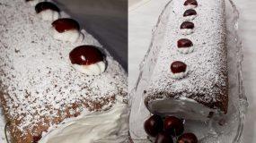 Σοκολατένιος κορμός από παντεσπάνι με σαντιγί και φρέσκα κεράσια